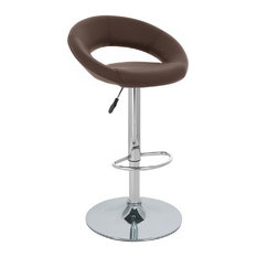 Set Of 4 Rho -inchLeather-inch Contemporary Adjustable Barstool - Coffee Brown