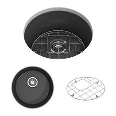 """Bocchi - Sanikey USA Inc - Sotto Undermount, Round Kitchen Sink, Grid and Strainer, Matte Dark Gray, 18"""" - Kitchen Sinks"""