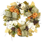 Creative Displays - Fall Wreath with Hydrangea, Heather, and Pinecone - A Farmhouse style fall wreath with white and orange hydrangea, pinecones, natural looking leaves, and white and brown heather bush.