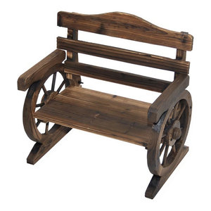 Wondrous Outsunny Rustic Wood Outdoor Wagon Wheel Wooden Bench Seat Evergreenethics Interior Chair Design Evergreenethicsorg