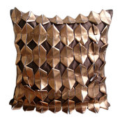 Rust 3D Throw Pillows Cover, Faux Leather 20x20 Throw Pillow Cover, Copper Age