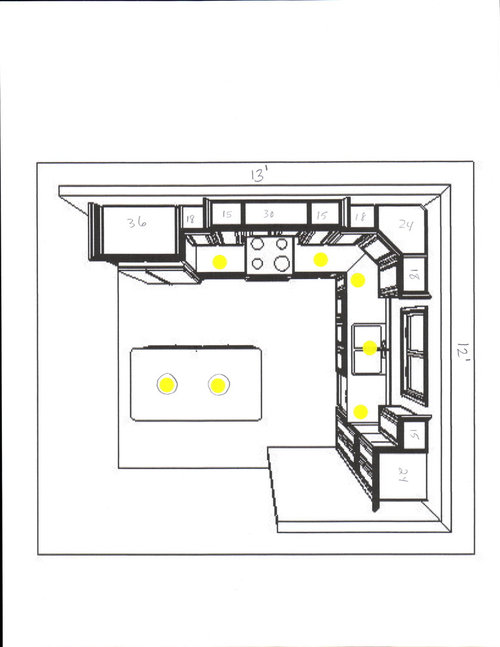 Kitchen recessed lighting layout i would like a light over the sink we plan on using 6 cans with a 75 watt par30 bulb opinions suggestions please on the layout below aloadofball Choice Image