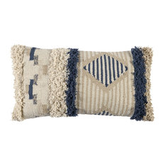 """Andros 100% Cotton 14""""x26"""" Throw Pillow, Natural by Kosas Home"""