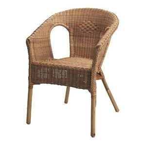 Traditional Stackable Armchair With Bamboo Wooden Frame and Rattan Seat