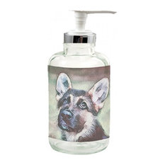 German Shepherd, Sly, Clear Glass Soap Dispenser