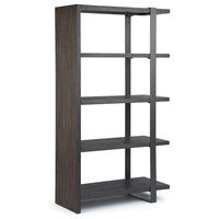 """Montgomery Solid Acacia Wood and Metal 66"""" x 36"""" Industrial Bookcase, Dark Brown"""