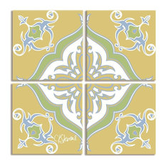 Yellow with Green and Blue Symbol Canvas 4 Pc Square Triptych