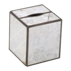Worlds Away Kleenex Box Antique Mirror, Plain