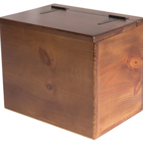Storage Box   Wooden   Small   Flat Top   Hinged Lid   Spacious Storage Box