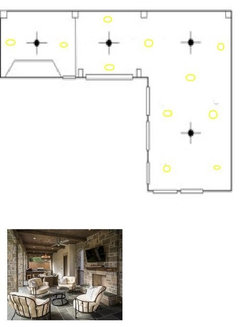 ... light kit. the spacing of the lights has balance but not over kill. also notice some of the trims have an eye ball to wash walls and be more indirect.  sc 1 st  Houzz & Recessing lighting placement on large covered patio
