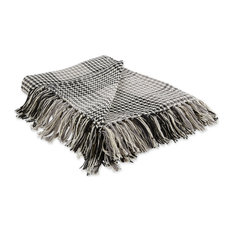 Black & Gray Houndstooth Plaid Throw
