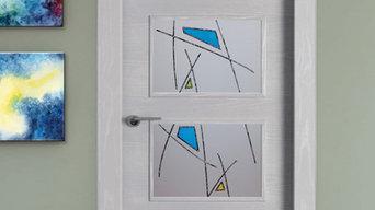 Puerta de paso con decorado resina cordón negro más metallure