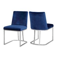 Heidi Navy Velvet Dining Chair, Set of 2, Navy