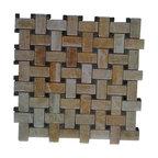 Brown Glass Mosaic Kitchen Backsplash Tile Contemporary