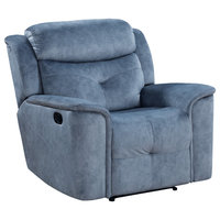 Acme Mariana Recliner With Silver Blue Fabric Finish 55037