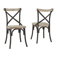 Urban Dining Chair in Antique Black with Reclaimed Style (Set of 2)