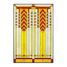 "Arts and Crafts Prairie 20""x30"" Chevron Art Glass Panel Red"