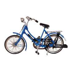 Recycled Metal Miniature Retro Women's Bicycle, Blue