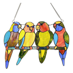 "10.5"" Stained Glass Tropical Birds Window Panel, Blue"