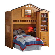 Acme Furniture - Rustic Oak Tree House Twin Bunk, Loft Bed, With Desk, With Shelf Cabinet - Bunk Beds