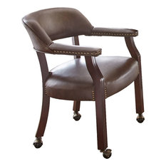 Steve Silver Company   Tournament Captains Chair With Casters, Brown    Armchairs And Accent Chairs