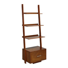 American Heritage Ladder Bookcase With File Drawer, Cherry