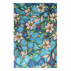 Muliti-Color Lily Flowers Florals Blossom Static Window Films DIY Decorations