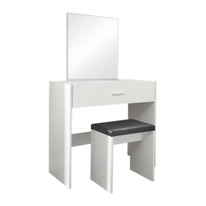 Ottawa 2-Piece Dressing Table and Stool Set, White