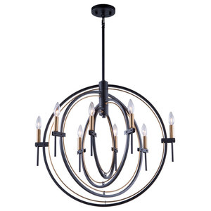 Anglesey AC11458 Chandelier, Matte Black and Harvest Brass