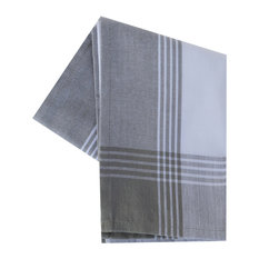 Tea Towel Color Bordered, Gray and White