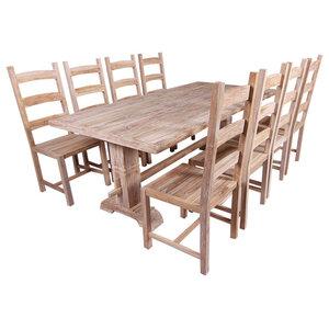 VidaXL 9-Piece Teak Dining Table and Chair Set