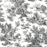 York Wallcoverings Black & White AT4228 Champagne Toile Wallpaper, White