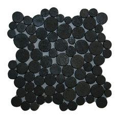 "12""x12"" Glazed Black Moon Mosaic Tile"