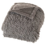Lavish Home - Solid Plush Fleece Sherpa Throw Blanket by Lavish Home, Gray - The contemporary design of this fleece sherpa throw offers a distinctive, stylish look while providing comfort and warmth