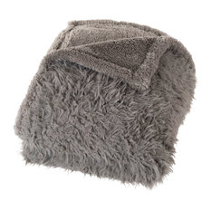 Solid Plush Fleece Sherpa Throw Blanket by Lavish Home, Gray