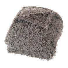 Lavish Home - Solid Plush Fleece Sherpa Throw Blanket by Lavish Home, Gray - Throws