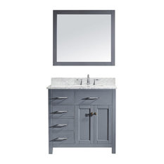 "Virtu Caroline Parkway 36"" Single Bathroom Vanity, Gray With Faucet and Mirror"