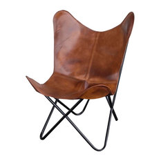 Leather Butterfly Chair, Natural Tan