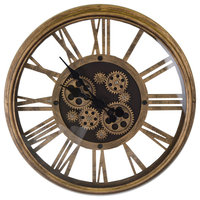 Moving Gears Antique Gold Steampunk Style Metal Wall Clock