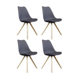Scandi Style Dining Chair, Pyramid Beech Wood Legs, Charcoal Grey, Set of 4