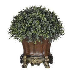Artificial Half-Ball Boxwood Topiary in Brown Traditional Urn