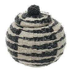 Manggis Handwoven Art Glass Basket, Modern Tribal