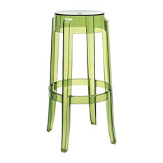 Charles Ghost Stools 30-inch Transparent Green Set Of 2