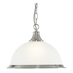American Diner Ceiling Chain Pendant With Ribbed Glass, Satin Silver