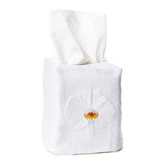 Orchid Tissue Box Cover, White Linen