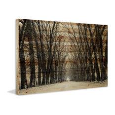 """Tree Path"" Print on Natural Pine Wood, 45""x30"""