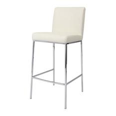 Pastel Furniture Pastel Emilia Barstool Chrome PU Ivory Seat Inch