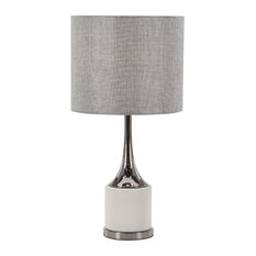 """Modern Concrete and Iron Table Lamp, 23"""""""