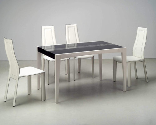 Extravagant Rectangular Wood And Glass Top Leather Modern Dining Set   Dining  Sets