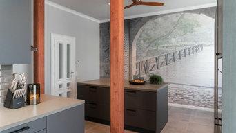 Die Küche sollte dunkel, klar und maskulin gestaltet werden.